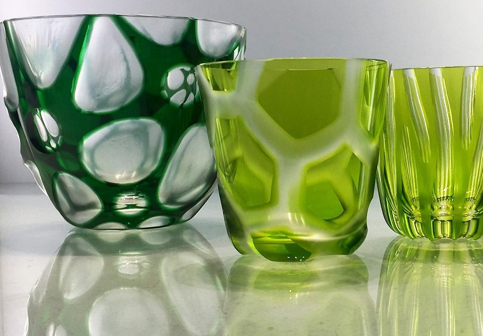 Rotter Glas Kristall Schale Glas Grün Neuer Dekor Zenja