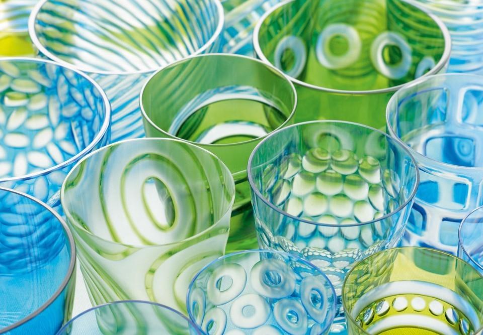 Rotter Glas Kristallglas Schliffe Vielfalt